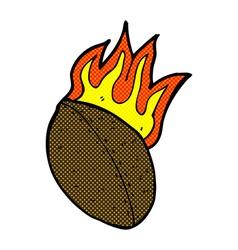 Comic cartoon flaming football vector