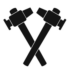 Crossed blacksmith hammer icon simple vector