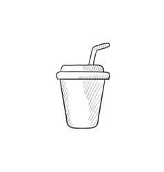 Disposable cup with drinking straw sketch icon vector image vector image