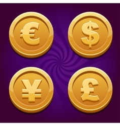 Dollar Euro Pound and Yen gold coins vector image vector image