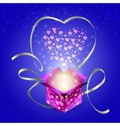 Gift box valentines day heart glow stars vector