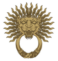gold lion head door knocker hand drawn vector image