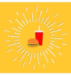 Hamburger and soda with straw Cinema icon in flat vector image