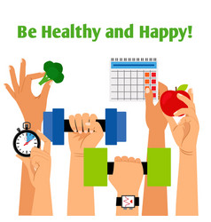 Healthy ifestyle concept with hands vector