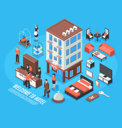 isometric hotel icon set vector image vector image