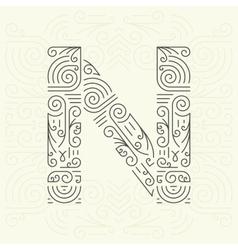 Letter N Golden Monogram Design element vector image vector image