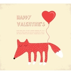 Love card with a fox valentines day vector