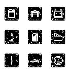 Repair machine icons set grunge style vector image
