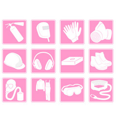 Set icons protective equipment in industry vector