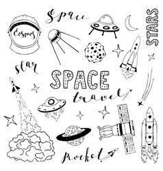 Set of elements on the space theme vector