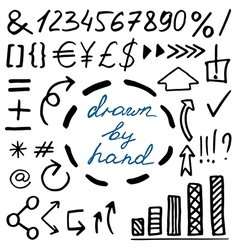 Set of hand drawn currency simbols numbers arrows vector