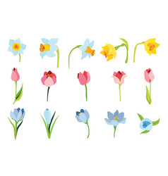 Set of spring april flowers for happy easter vector