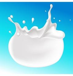 Splash of milk on blue background - vector