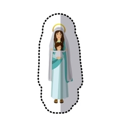 Sticker saint virgin mary with baby jesus vector