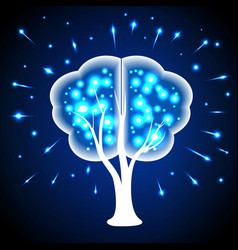 Tree in the form of human brains thoughts shining vector
