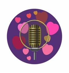 Vintage microphone and pink hearts icon vector