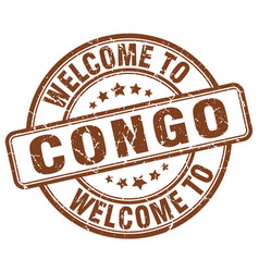 Welcome to congo brown round vintage stamp vector