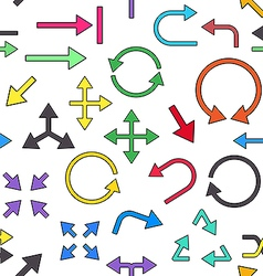 Arrows colorful pattern icons vector image