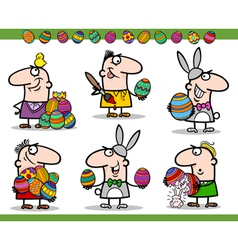 easter themes set cartoon vector image