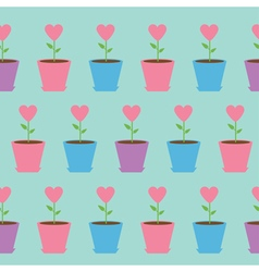 Heart flower in pot seamless pattern wrapping vector