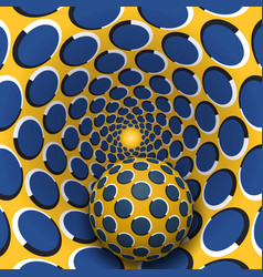 Ball is moving in yellow blue rotating hole vector
