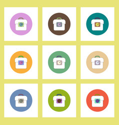 Flat icons set of business pie chart and bag vector