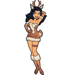 Sexy Christmas Reindeer Girl vector image