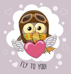 Cute cartoon owl in a pilot hat vector