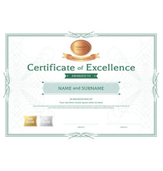 Certificate of excellence template with bronze vector