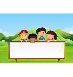 Kids near the mountain with an empty signboard vector