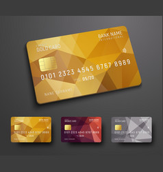 Design of a credit debit bank card with a gold vector