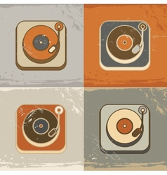 Retro record player icons vector