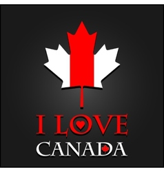 I love Canada sign and labels on maple leaf flag vector image