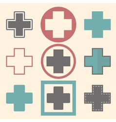 Set of medical logo icons with crosses vector