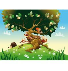Cartoon landscape with animals vector image
