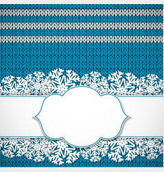 Blue knitted background vector