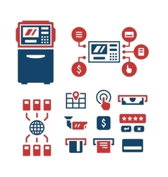 Set color icons of atm vector