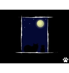 Cat in the night looking vector