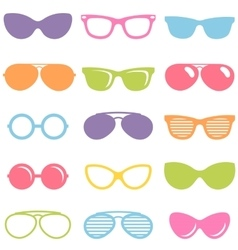 Set of colorful sunglasses icons vector