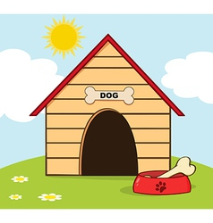 Dog house with bowl on a hill vector