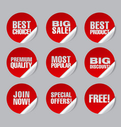 Advertising discount stickers vector