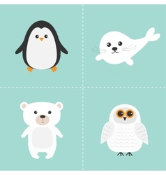 Arctic polar animal set white bear owl penguin vector