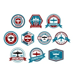 Aviation labels or badges in retro style vector