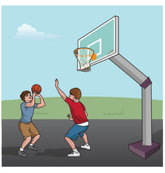 Basketball game boys vector