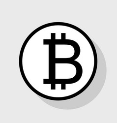 Bitcoin sign flat black icon in white vector
