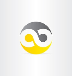 black and yellow infinity symbol vector image vector image