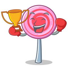 boxing winner cute lollipop character cartoon vector image vector image