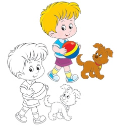 Boy and pup vector image vector image