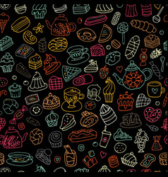 cakes and sweets seamless pattern for your design vector image