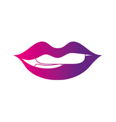 Color silhouette mouth with lipstick and bite vector